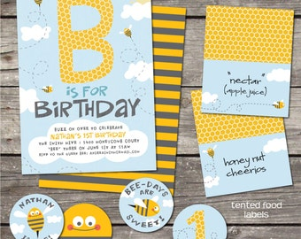 PRINTABLE Bee-day themed digital party pack - invitations, thank yous, favor tags, food labels, cupcake toppers, water wrappers, garland