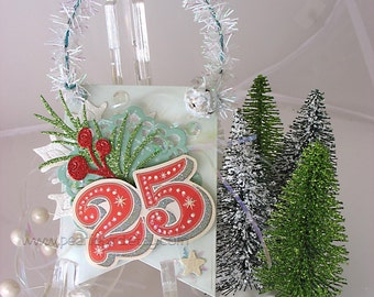 Vintage Style Collage Hanging Ornament~Christmas Ornament~Bunting~Snowflake~December 25~Holly Berries~Evergreen Branch~red~green~aqua blue