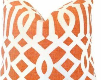 "Schumacher Imperial Trellis in Ivory/Mandarin  20"" Pillow Cover"