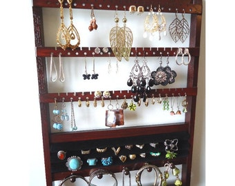 Ring Holder Jewelry Organizer, Solid Oak Hardwood Holder, Dark Mahogany Stain, Earring Display Bracelet Storage, Lovely Wall Mounted Rack