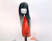 "ACEO / ATC / Artists Trading Card Mini Print - ""Edina"" - 2.5x3.5"" Small Artwork - Little Darkling Girl in Red Dress- Long haired Girl"