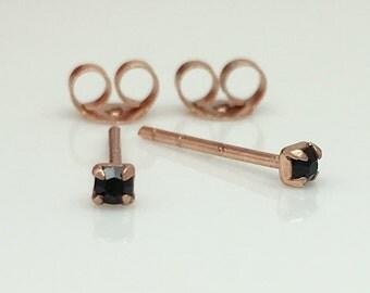 Black rose stud earrings, cz diamond stud earrings, tiny rose gold studs, stud earrings, cartilage piercings, upper ear, 421N