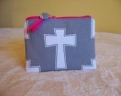 PEN & PENCIL Pouch Large zippered pouch zippered bag.  Grey with Cross and optional pink accents