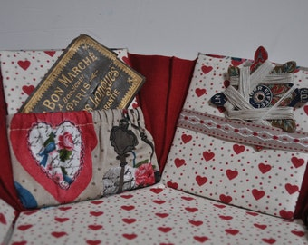 Hexagonal Sewing Box - Fabric Covered Cartonnage - 'Hearts and Bluebirds'