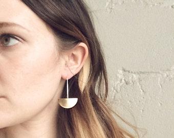 Horizontal Arc Earrings. Brass and Sterling Silver. Statement Earrings. Shield Earrings. Hald Moon Earrings. Geometric. Modern. Minimal.