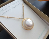 Mother of bride gift on wedding day, Eternity pearl necklace, from bride and groom, mother of groom