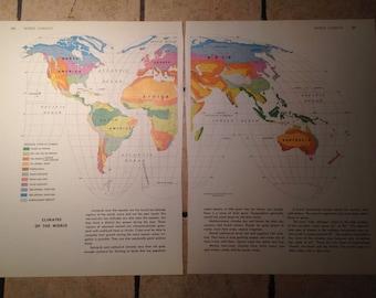 1962 World Climates Map Antique Illustration