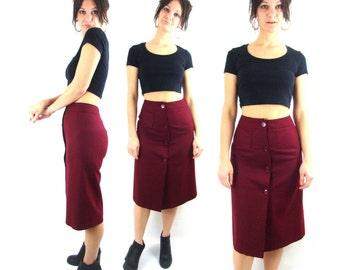 70s 80s / ron burgundy midi skirt / buttons / wool blend / s
