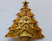 1960s Christmas Tree Brooch Pin Gold Tone with Rhinestone Ornaments