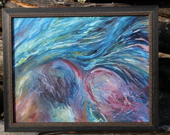Oil Painting, The Wind Blows the Willows