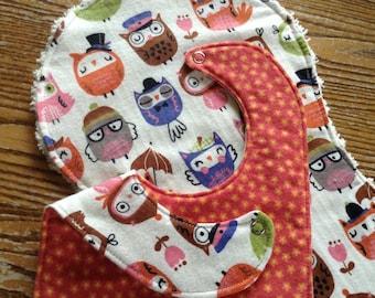 Burp Cloth and Bib Set for Baby, Triple Layer Bib, Chenille Back Burp Cloth, owls, ready to ship