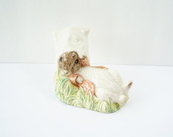 Benjamin Bunny Wakes Up Figurine, 1990 Royal Albert Beatrix Potter Collectible, 1990 F. Warne & Co. Beswick England, Nursery Bunny Figurine
