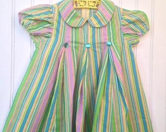 2t striped vintage girl dress peter pan collar