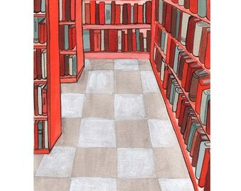 Library Illustration Art Print