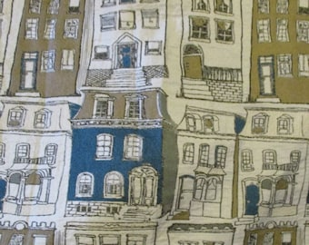 Houses Buildings Cityscape Neighborhood City Townhomes Gold Teal White Upholstery Fabric Material