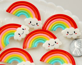 Kawaii Cabochons - 40mm Cute Smiling Rainbow with Kawaii Smile Face Cloud Flatback Resin Cabochons - 6 pc set
