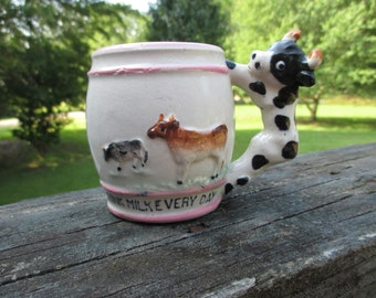 Vintage Black White Cow Handle Mug--I Drink Milk Every Day--Ceramic Mug--Childs Cup--Baby Nursery--Baby Shower Gift