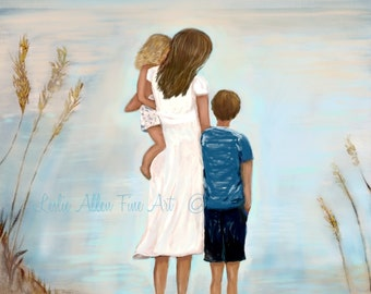 """Mother At Print Daughter Son Brother Sisters Mother Painting Mom Kids Beach Ocean Art """"Together At The Sea Shore"""" Leslie Allen Fine Art"""