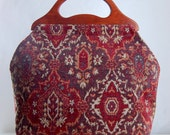 Brick Medallion Chenille Large Craft Project Tote/ Knitting Tote Bag - READY TO SHIP