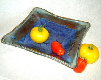 Diamond Serving Bowl in Cobalt and Denim Blue in Handmade Stoneware Pottery
