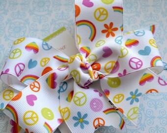 Peace, Love, and Rainbows XL Diva Bow
