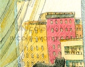 ACEO archival Print -- In a city window