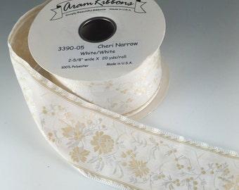 "2 5/8"" Ivory and White Floral Jacquard Ribbon Cheri   2 Yard Length"