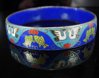 Chinese Enamel Bracelet Art Deco ENAMEL Oriental Bird FISH cobalt blue Fetish
