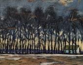"""Passing by Thomas's - Original Acrylic Oil Encaustic Landscape Paintjng 20""""x 10"""""""
