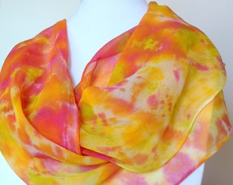 Iced Sherbet scarf -  multi-colored orange, pink, yellow, lime silk scarf, women's scarves