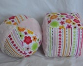 Cloth Jingle Ball and Block Set with FLORAL fabric and Minky