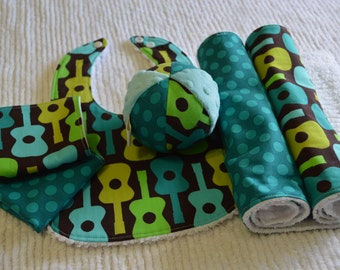 Lime Groovy Guitars Baby Gift Set