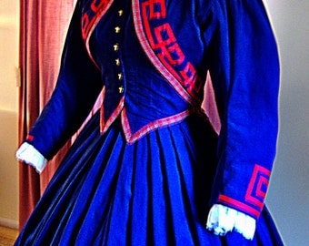 FOR ORDERS ONLY - Custom Made 1800s Victorian Dress - 1860s Civil War Day Gown - Reenactor Costume - Traveling Suit - Jacket Bodice Skirt