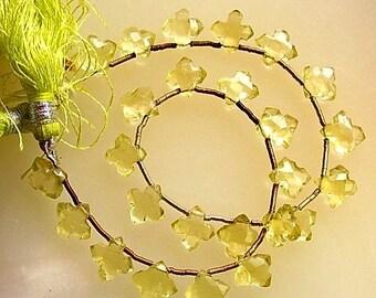 Fancy cut Faceted Clover Small Cross Gemstone Lemon Quartz Briolette Drop Teardrop Beads 4 beads set