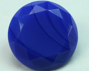 25mm Round Opaque Cobalt Blue Glass Jewel, Pointed Back, Unfoiled  - 1 piece