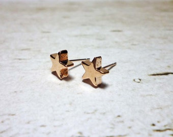 Solid Star Stud Earrings, Dainty Earrings - Rose Gold