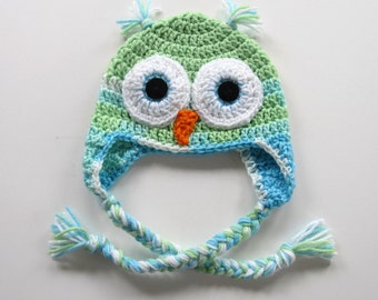 Ready To Ship - Crochet Owl Hat - Green and Aqua Owl Earflap Baby Hat - Size 6 to 9 Months - Crocheted Owl Baby Girl Hat