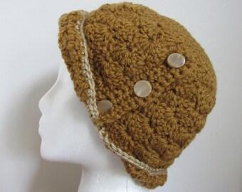Ladies' Crochet Flapper Hat - Women's Crochet Cloche - Gold Crochet Cloche - Ready To Ship Flapper Style Hat
