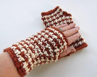 Crochet Rust Cream Herringbone Fingerless Gloves - Rust Arm Warmers - Crochet Fingerless Mitts - Wrist Warmers