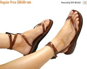 20% OFF Brown Ankle-Strap Leather Sandals for Men & Women - Handmade Sandals, Leather Flip Flops, Unisex Flat Sandals, Brown Leather Sandals