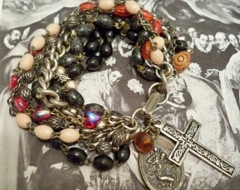 Multi strand rosary necklace chains recycled into bracelet - One of a Kind - bycat