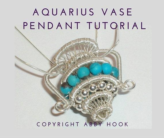 Aquarius Vase Pendant, Wire Jewelry Tutorial, PDF File instant download