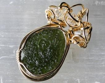 Moldavite with Herkimer Diamonds - Wire Wrapped Talisman Amulet Pendant Unique Original Design by Philip Crow