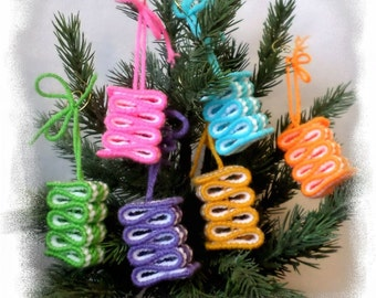 Ornaments - Ribbon Candy Ornaments - Light Rainbow Colors