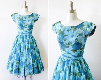 floral chiffon dress, vintage 50s floral dress, 1950s blue floral party dress