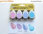 brilliance dew drop ink pads. tsukineko rubber stamp pads. multipurpose fast drying ink. pearlescent. card making. set of 4. jewel tone