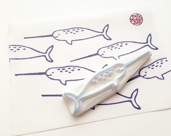 happy narwhal whale stamp. marine animal hand carved rubber stamp. birthday scrapbooking. gift wrapping. summer holiday crafts. large