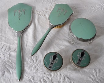 Jadeite Green and Chrome Dresser Set/Vintage 1940s/Art Deco Vanity Set/With Jadeite Green Enamel Bowl