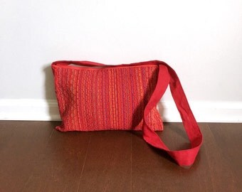 The Hippie Bag - A Kohn Designs Original - Red Handwoven Crossbody Bag