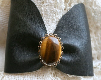 Butter Soft Black Leather Bracelet Cuff Vintage Gold Metal and Large Cat's Eye Stone Brooch